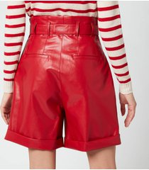 philosophy di lorenzo serafini women's faux leather shorts with bow belt - red - it 44/uk 12