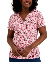 karen scott natalie garden printed henley top, created for macy's
