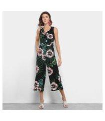 macacão longo lily fashion regata floral