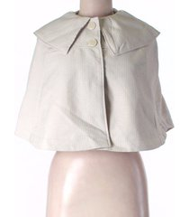anthropologie tulle womens medium ivory/white collared poncho button jacket coat
