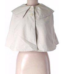 anthropologie tulle womens medium ivory/white collared poncho button jacket coat