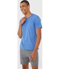 pijama malwee liberta logo azul/cinza - azul - masculino - viscose - dafiti
