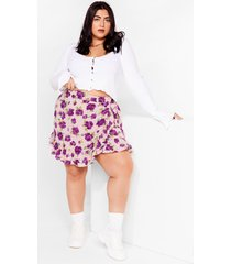 womens we really lilac you floral plus mini skirt