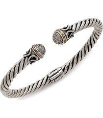 effy women's embossed sterling silver & 18k yellow gold diamond cuff bracelet