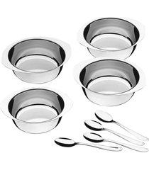 jogo de sobremesa aço inox tramontina 8 peças service prata - tricae