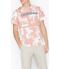 jack & jones jormonochrome palm tee ss crew neck t-shirts & linnen rosa