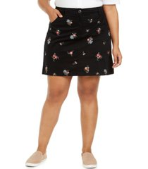 karen scott plus size bouquet-embroidered skort, created for macy's
