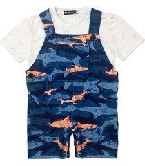 jardineira de moletom estampada com camiseta ser garoto azul - azul marinho/branco/laranja - menino - algodã£o - dafiti