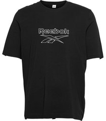 cl f vector tee t-shirts short-sleeved svart reebok classics