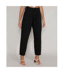 calça de sarja feminina baggy cintura super alta com argolas preta