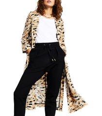 women's river island turn up longline duster jacket, size 12 us - ivory