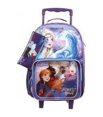 kit escolar frozen mochila + lancheira + estojo