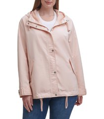 plus size women's levi's hooded peached water resistant rain jacket, size 3x - pink