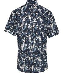 aop palm leaves shirt s/s kortärmad skjorta blå lindbergh