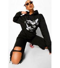 amour boyfriend hoodie met duiven, black