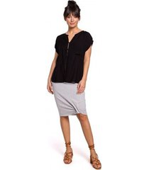 blouse be b150 knoopjesblouse met korte mouwen - zwart