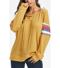 lace up striped loose hoodie