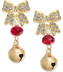 holiday lane gold-tone pave bow & bell drop earrings, created for macy's