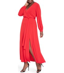 plus size women's eloquii wrap front long sleeve matte jersey maxi dress