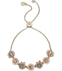 marchesa gold-tone crystal & imitation pearl flower slider bracelet