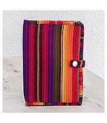 cotton passport wallet, 'rainbow of love' (8.5 inch) (guatemala)