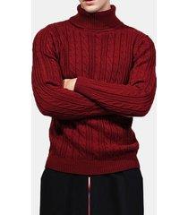 maglioncino casual slim fit a manica lunga con collo alto e maniche lunghe in jacquard di spessore autunno inverno