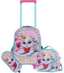 kit mochila com rodinhas pet life gatinho com lancheira e estojo