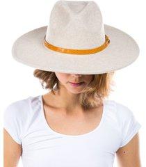 women's vegan leather embossed animal print band wool blend felt hat