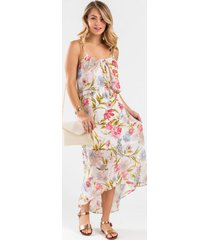 katie floral high-low dress - cream