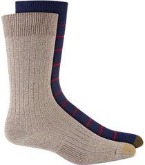 gold toe men's 2-pk. textured stripes crew socks