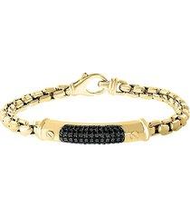 effy men's 14k goldplated sterling silver & black spinel box chain bracelet