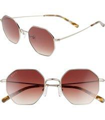 women's diff 51mm gradient octagon sunglasses - silver/ brown