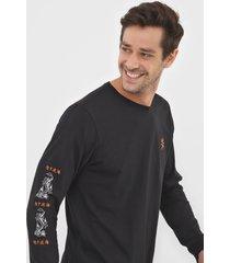 camiseta billabong double dragon preta - preto - masculino - dafiti