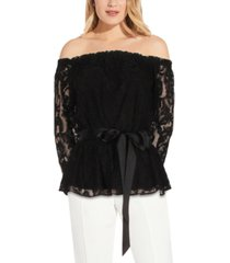 adrianna papell off-the-shoulder lace blouse