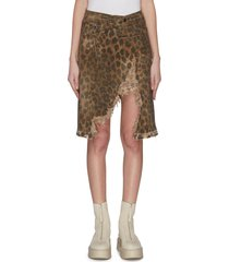 'norbury' leopard print split hem denim skirt
