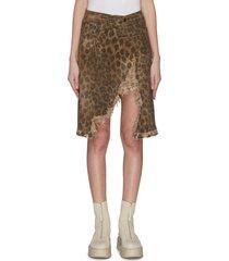 'norbury' leopard print split hem denim skirt