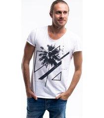 camiseta joss corte à fio palmeiras branca dtg