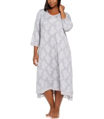 charter club plus size floral-print lace-trim nightgown, created for macy's