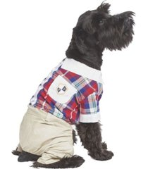 parisian pet plaid royal dog jumpsuit