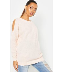 cold shoulder moss stitch sweater, soft pink