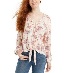 hippie rose juniors' floral-print tie-front top