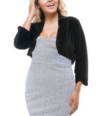 city studios trendy plus size scalloped-edge bolero jacket