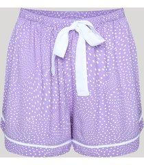 short de pijama estampado de poá com vivo contrastante e amarração lilás