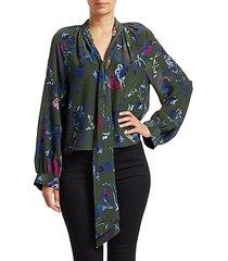 giovanna floral silk tieneck blouse