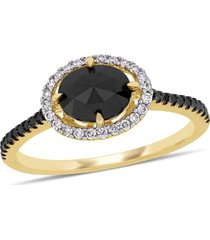 black and white diamond (1 1/5 ct. t.w.) halo engagement ring in 14k yellow gold