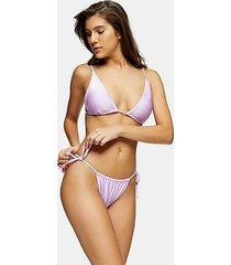 considered shiny lilac high tie bikini bottoms - lilac