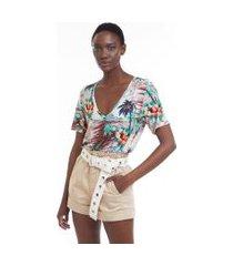 blusa de malha decote v manga curta estampada est paisagem veleiro - gg