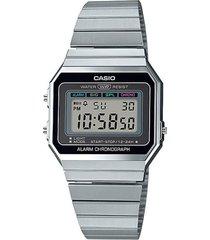 reloj casio modelo vintage collection plateado hombre