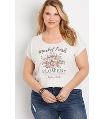 maurices plus size womens flower graphic tee beige