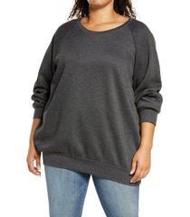 plus size women's treasure & bond crewneck tunic sweatshirt, size 2 x - grey